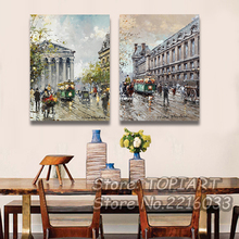 2 Pieces Wall Art Modern Living Room Decor Abstract Paris Street Four Seasons Oil Painting Print CANVAS Pictures ArtsNo FRAMES(China)