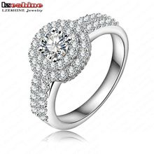 LZESHINE Brand Elegant Queen Ring  Silver/Rose Gold Color Round Cut AAA Cubic Zirconia Inlayed Ring CRI0021