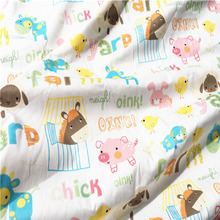 Hand Paint Design Happy Farm Animals Chick Oink Gariffe Printed 100% Cotton Fabric 50x160cm Bedding Quilting Clothing DIY fabric(China)