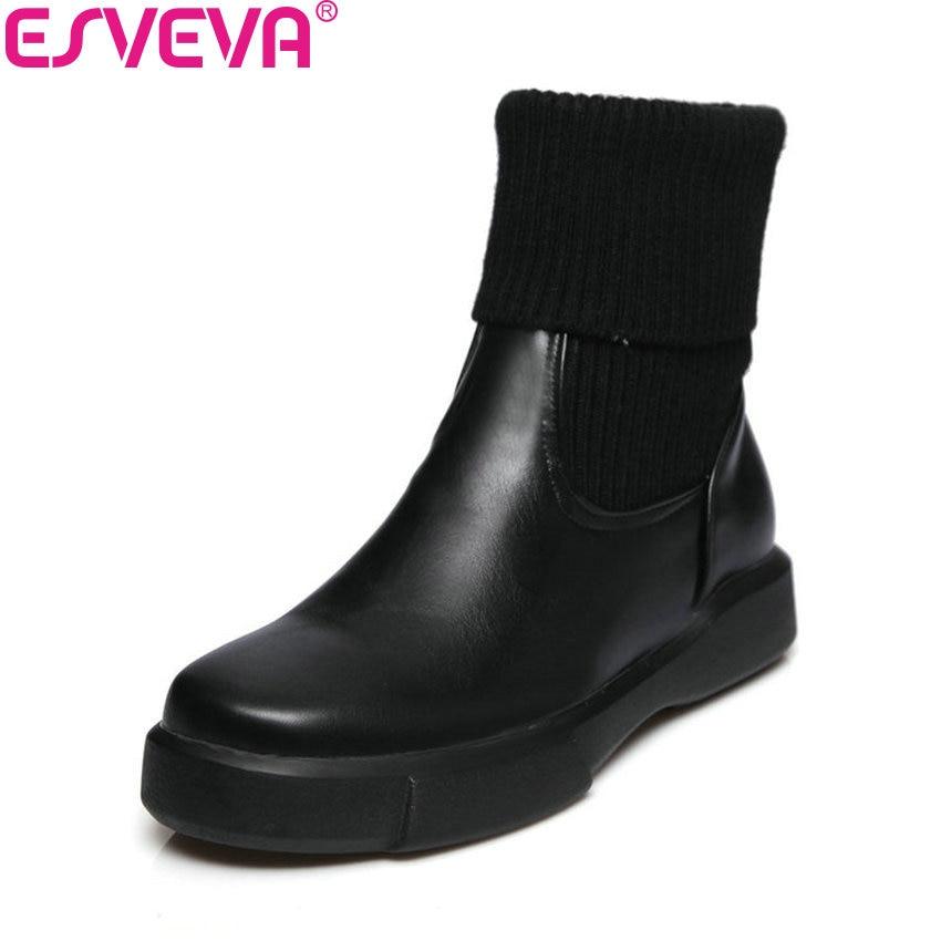 ESVEVA 2018 Women Boots Woolen Out Door Slip On Boots Low Heels Slim Look Ankle Boots Black Handmade Ladies Boots Size 34-43<br>