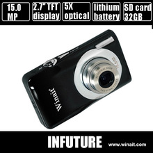 15mp optical digital camera with 2.7'' TFT display and 5x optical zoom rechargeable lithium battery free shipping