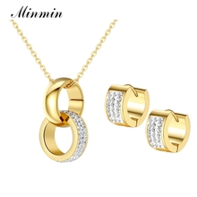 Minmin 316L Stainless Steel Jewelry Sets for Women Gold Color Crystal Pendant Necklace Earrings African Beads Jewelry Set TL326(China)