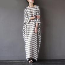 2017 Spring Autumn New Fashion Women Retro to do the old cotton hemp striped robe art lofty large long paragraph Dress S-5XL