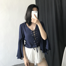 Body Real Full Blusa Blouse 2017 Summer New Chest Tie Europe And The Holiday Wind Split Seven Horn Sleeves Cotton Shirt Women