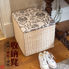 Pastoral simplicity straw stool storage stool changing his shoes sofa stool foot of the bed to sit wood children's toy box ready