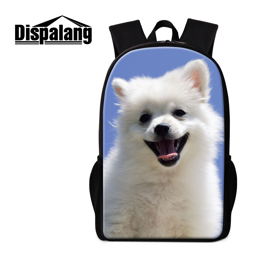 Dispalang cute white pet dog printing backpack for teenage girls 16 inch large vintage school bags for children womens mochilas<br><br>Aliexpress
