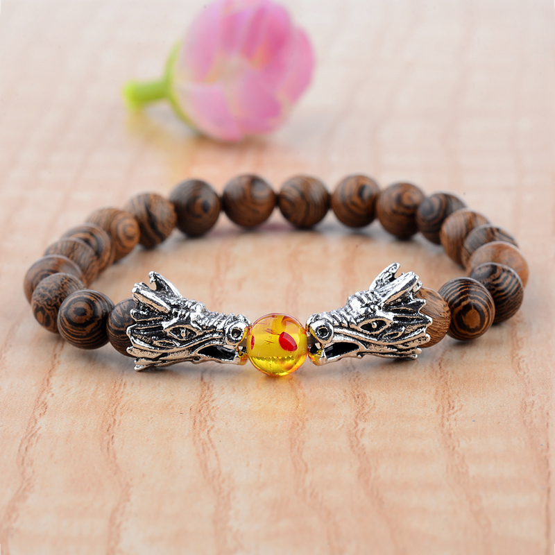 Dragon Heads & Wood Beads Meditation Bracelet