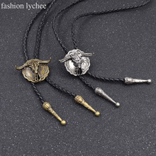 fashion lychee Synthetic Leather Native American Bull Head Bolo Tie Suit Shirt Shoestring Necktie Handmade Necklace