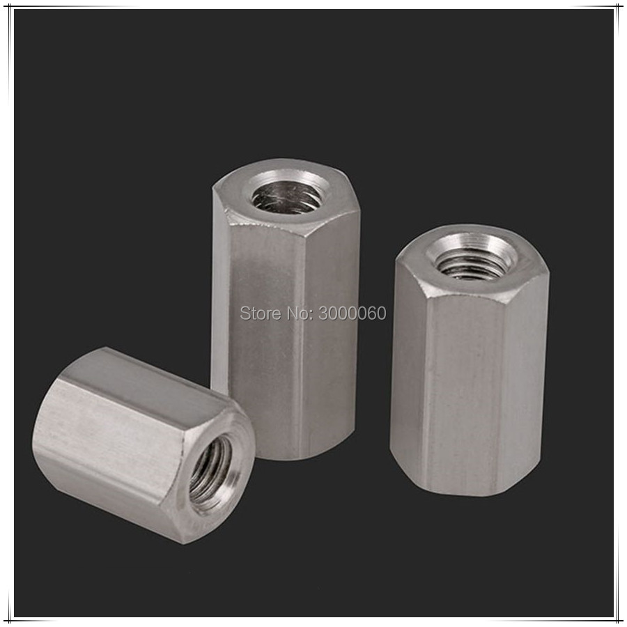 M16 M20 M24 DIN6330 Stainless Steel 304 Female To Female Long Hexagon Rod Coupling Nut<br>