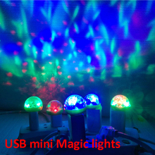 Lumiere RGB LED Music Stage Lights Sound USB Disco Club DJ Light Show Bulb Projector Crystal Magic Ball dj effect lighting(China)