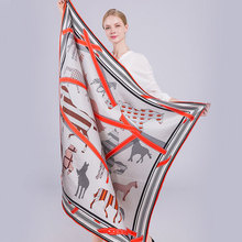 Women Winter Spring Silk Scarf Horse Trees Print 135x135cm Large Size 100% Silk Square Scarves Shawls Luxury 4 Colors(China)