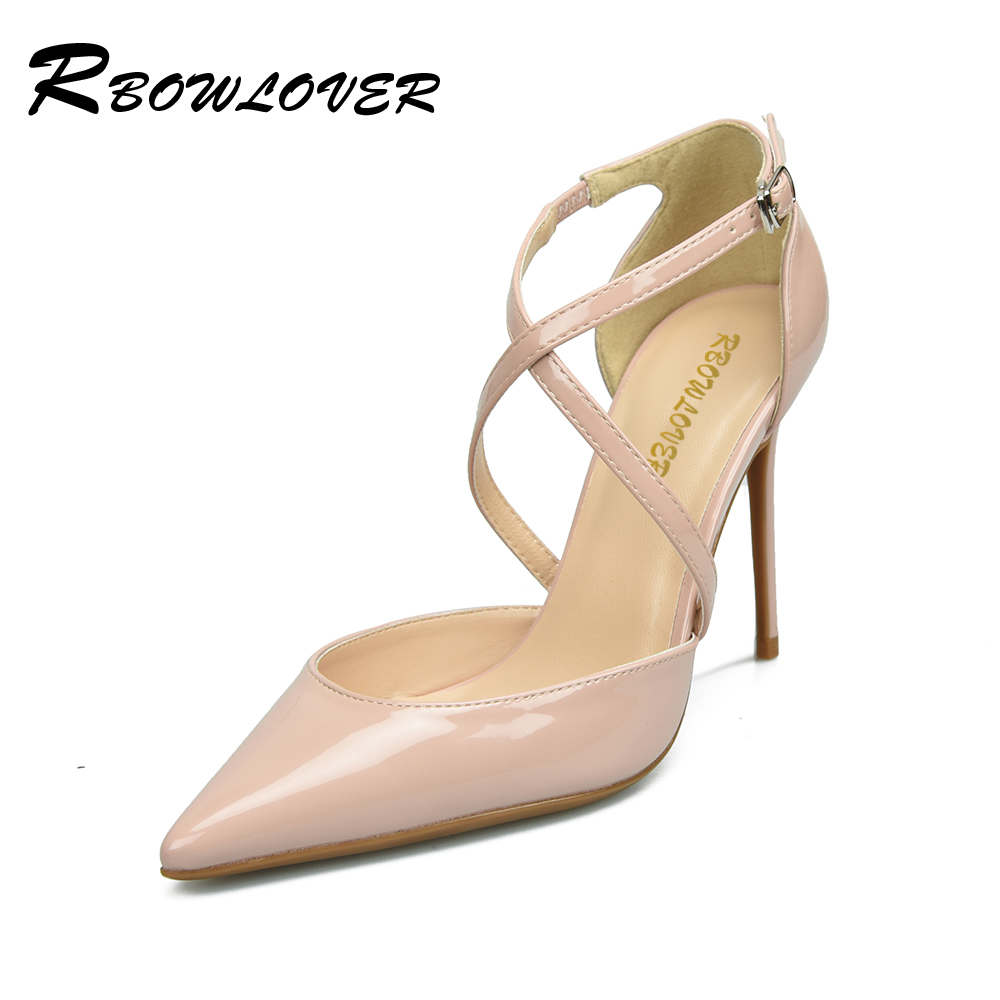 RBOWLOVER 2018 Women Lace-up Pumps Patent Leather Thin High Heels Point Toe Mary Janes Shoes<br>