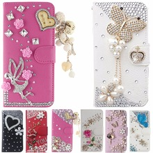 Card Slots Rhinestone Case For Samsung Galaxy Young 2 G130,Luxury Bling Crystal Leather Wallet Stand Flip Case Cover
