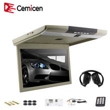 Cemicen 15.6 Inch Car Roof Flip Down Mount Monitor LED Screen Support IR/FM Transmitter USB SD HDMI Built-In Speaker/Microphone(China)