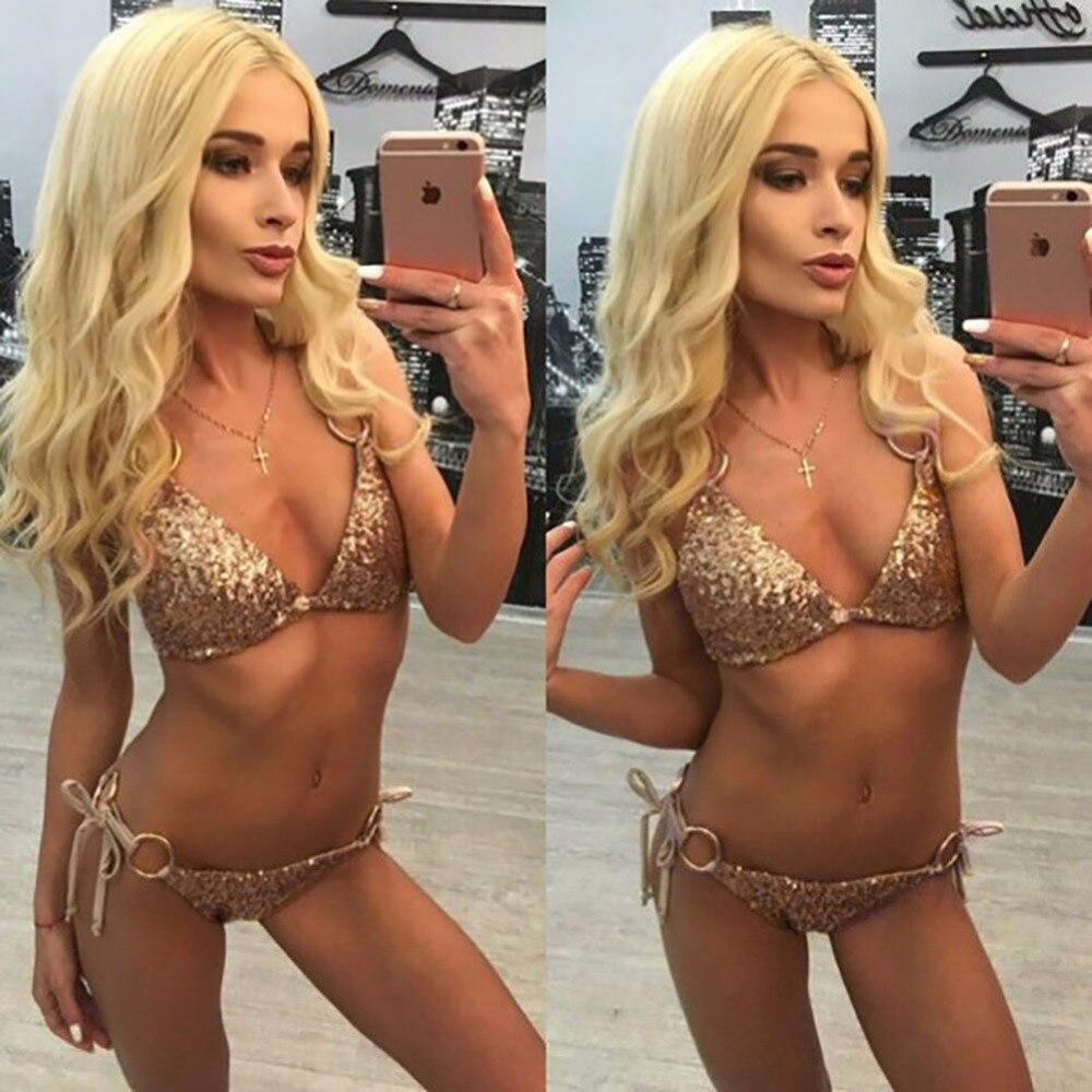2017 new bandage sexy bikini swimwear golden sequins beaded set swimsuit woman swimsuit beach swimming Swimwear<br><br>Aliexpress