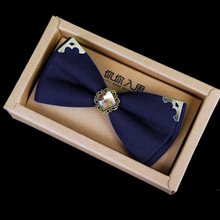 2017 Promotion Fashion Cotton Adult Women Men Solid New Metal Decoration Gentleman Bow Tie Wedding Dinner British Wind Gem Ties