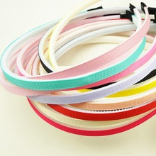 100pcs 7mm Wrap ribbon Covered Plastic winding hair hoop DIY hair accessory hair bands woman girl Kids Basic headbands Wholesale