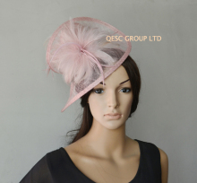 NEW 20 color Blush pink sinamay feather fascinator hat  for wedding,ascot races,kentucky derby,melbourne cup,party.FREE SHIPPING