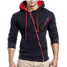 2017 Hoodies Men Sweatshirt 3d hoodies Mens Brand clothing Oblique zipper Hoodie Sweatshirt Slim Fit Men Hoody Sudaderas Hombre(China)