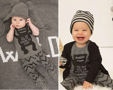 Casual Newborn to 3T Bodysuit Pants Set Baby Boy Clothes Outfit Grey Top T Shirt + Pant Kids Clothing