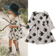 Toddler Kids Girls Dress Clothing Swallow Print Casual Long Sleeve Mini Party Pageant Casual Dresses Girl 2-7Y