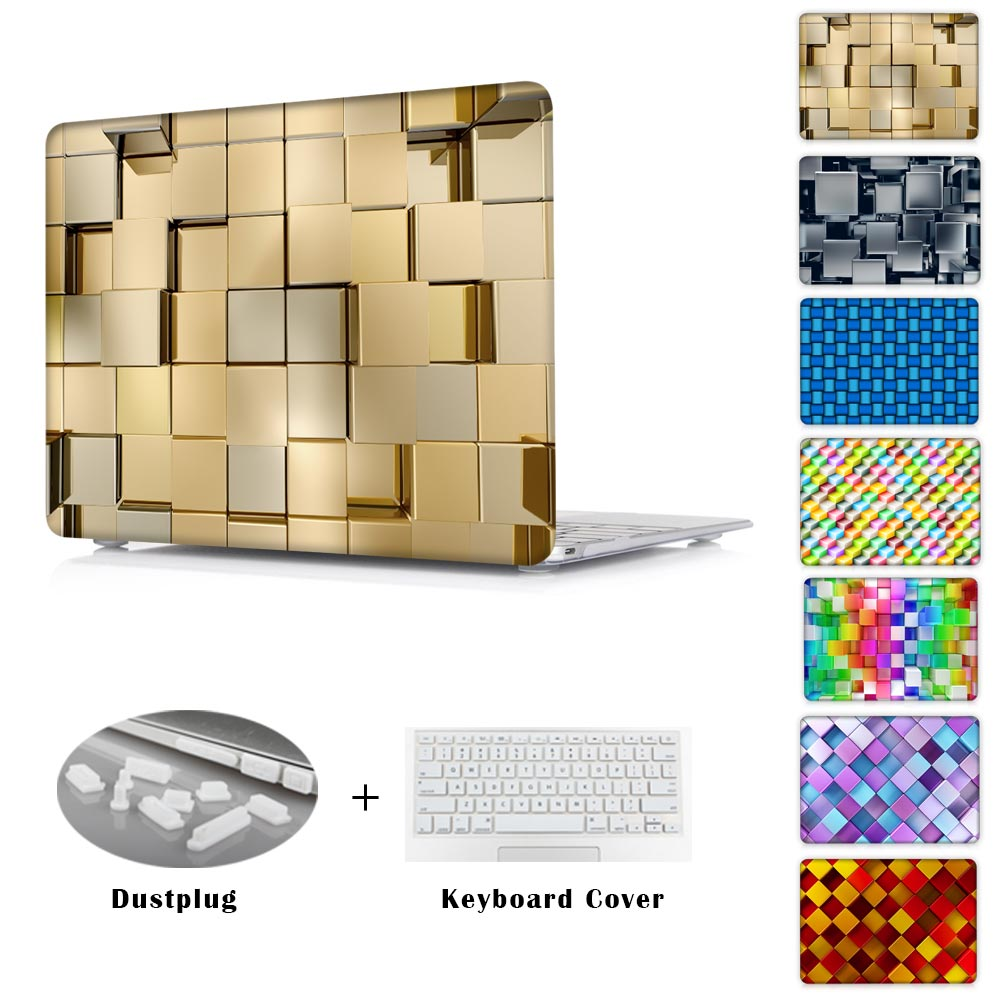 Pro 13 15 Retina 12 13 15 Air 11 13 Front and Back Cover 3D Gold Cubes Printed Hard Case For MacBook <br><br>Aliexpress