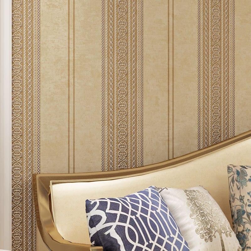 Beibehang Fashion Jane European striped non-woven 3D wallpaper living room bedroom sofa TV background wall paper papier peint<br>