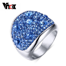 Vnox Crystal Rings For Women Multicolor Rhinestone Stainless Steel Wedding Female Teen Jewelry(China)