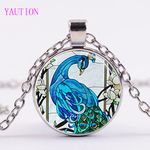 3/Color Cute Peacock Feather Necklace Locket Pendant Glass Dome Pendants Peafowl Necklaces Bird Statement Animal Jewelry Gifts(China)