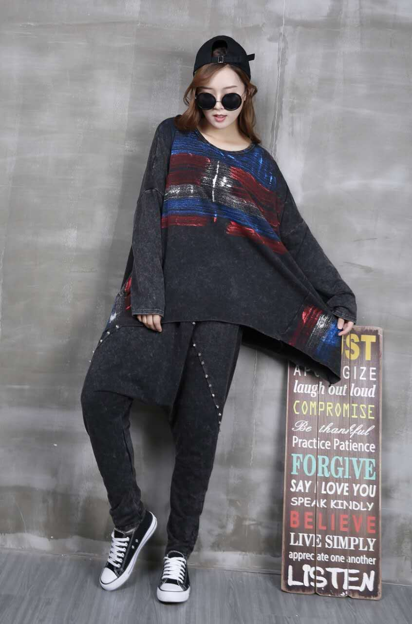 2017 Womens Blouse Top Plus Size Tumblr Sweatshirt Punk Hip Hop Painted Pullover Long Sleeve Boho Ladies Women Korean Cute Tops