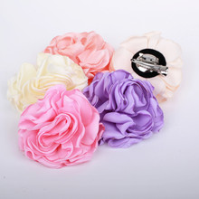 "40 pcs/lot , 3.15"" Burned Edges Satin Rose Flower brooch Clip and Pin, Satin Rosette Flower brooch hair clips"