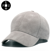PLZ Vintage Baseball Cap Gray Suede Fabric Women Hats 2017 Autumn Winter Caps Good Quality Blank Solid Caps Imitation cashmere
