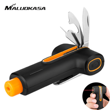 MALUOKASA Car Styling Life Saving Hammer Emergency Seat Belt Cutter Window Break Tool Safety Glass Breaker Key Ring With Laser