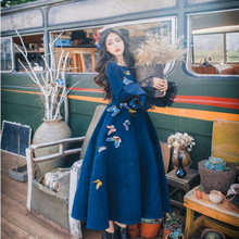 Vintage Retro Dare Blue Royal Princess Dress Butterfly Ruffles Flare Sleeve Long Dresses American Apparel Vestidos Autumn Winter(China)