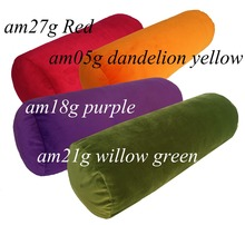 am21g Green Yellow Red Pueple Round Bolster Velvet Neck Roll Yoga Cushion Cover Cushion Case Pillow Case ( Custom Size )