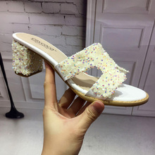 European American Brand Designer Wedges Sandals Women Glitter Beach Sandals Summer Shoes Ladies Flip Flop Open Toe Slippers(China)