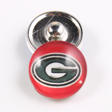 Georgia Bulldogs NCAA 18mm Glass Snap Button Jewelry Cabochons Snap Charms Fit Snap Button Bracelet Jewelry