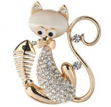 JS BR155 New Arrival Fish And Cat Brooch Gold And Silver Color Women Costume Accessories Nickel Free Fashion Jewelry 2015