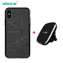 For Apple iphone X case cover NILLKIN qi wireless charger pad + Magnetic wireless charger receiver cover for iphone X 5.8 inch(China)