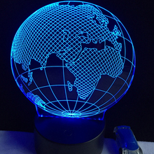 2017 Novelty Design Tellurion Globe World Europe Map 3D LED Lamp 7 Colors Changing Mood Bulb Kid Desk Decoration Gadget Gift Toy(China)