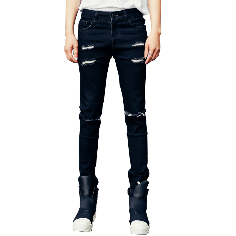 2017 spring new destroyed ripped  holes men jeans back printing denim trousers male high street slim fit black jean pantОдежда и ак�е��уары<br><br><br>Aliexpress
