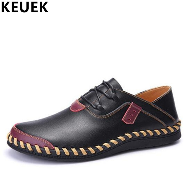 Soft comfortable breathable casual shoes Genuine leather Handmade Men Flats Lace-Up Loafers Big size male shoes 3A<br>