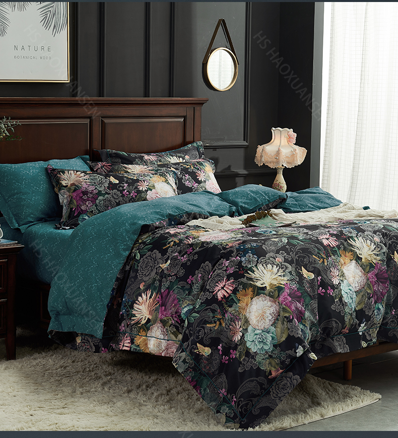 Hs Black 3d Floral Print Bedding Sets Duvet Cover Bed Linen And