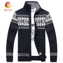Mandarin Collar Men Sweatercoat Blue Hombre 2017 Spring Thin Wool Cardigans Masculino Thick Warm Long Sleeve Zip Sweaters Men(China)