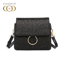 coofit New Ladies Messenger Bags Stylish Straw Weaved Shoulder Adjustable Strap Crossbody Bag For Women With Manetic Lock(China)
