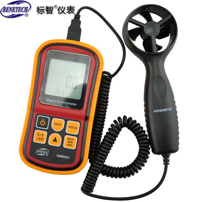 GM8901 0~45m/s High Accuracy Anemometro LCD Display Digital Anemometer Wind Meter Air Velocity Temperature Meter<br><br>Aliexpress