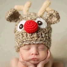 Newborn Baby Wool Cap Child Joker Hand Knit Hat Antler Clothes Hat 0-3 months Fashion Hand-hooked Baby Bonnet Photography Prop(China)