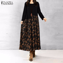 Buy ZANZEA Women Autumn Elegant Dresses 2016 Ladies O Neck Long Sleeve Floral Patchwork Print Maxi Dress Cotton Linen Loose Vestidos for $13.91 in AliExpress store