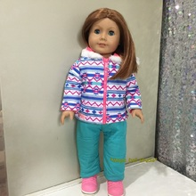 "[AM141] 18"" American Doll Outfits Blue Snowing Set fits 18"" dolls American girl doll clothes 18 inch Doll accessories"