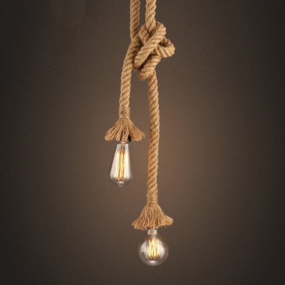 American Industrial Retro Rope 2 Heads Pendant Light for Bedroom / Restaurants / Coffee Bar<br>